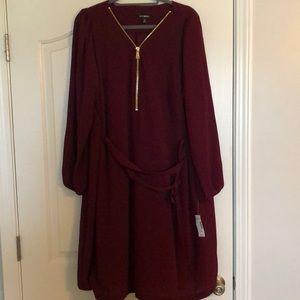 Roz & Ali Maroon Zip Front Dress- NWT